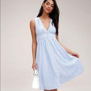 Lulu's Nautical Lights Blue and White Stripe Dress